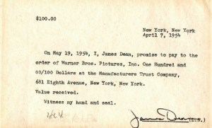 A pre-fame note signed by James Dean