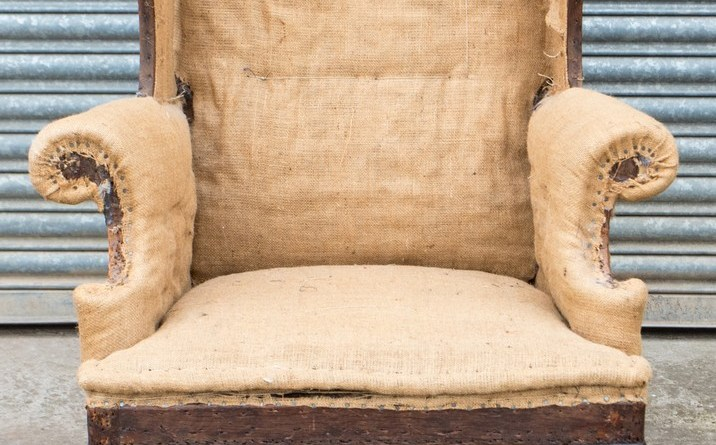 The antique Georgian wing back chair sold at Hansons Auctioneers