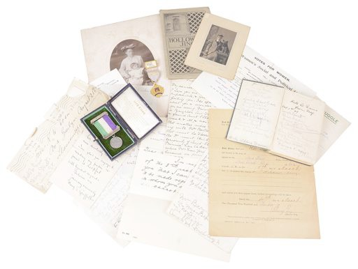 Suffragette collection of letters and medal