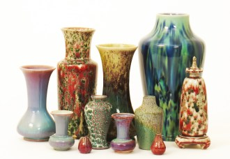 Examples of pottery from the Ruskin Pottery