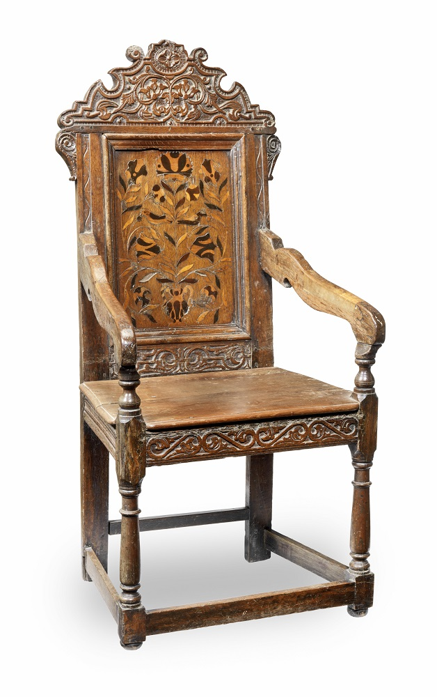 Antique mid-17th century oak armchair