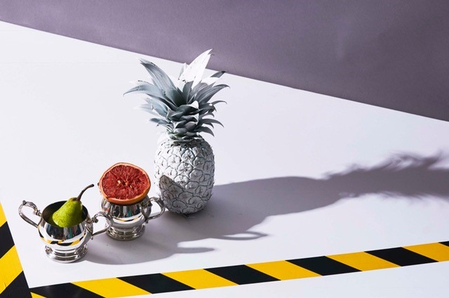 Antique silver with fruit and silver pineapple