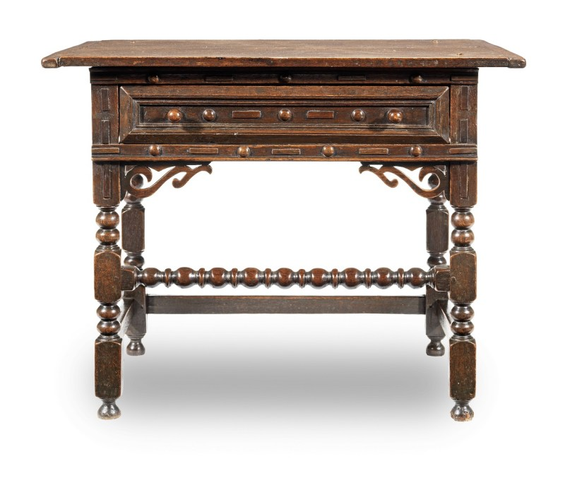 Antique Charles II joined oak and elm side table