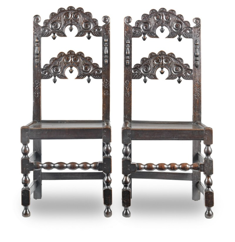 Antique Charles II oak backstools