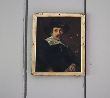 Small oil portrait of a gentleman in a hat from Janey Cave Antiques