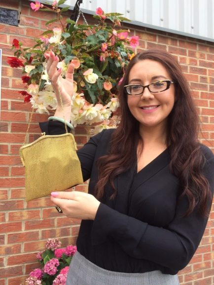 Jane Williams with the art deco gold evening bag