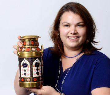 Naomi with Royal Crown Derby churn