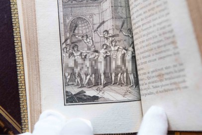Pages from the Marqui de Sade books in Hansons sale