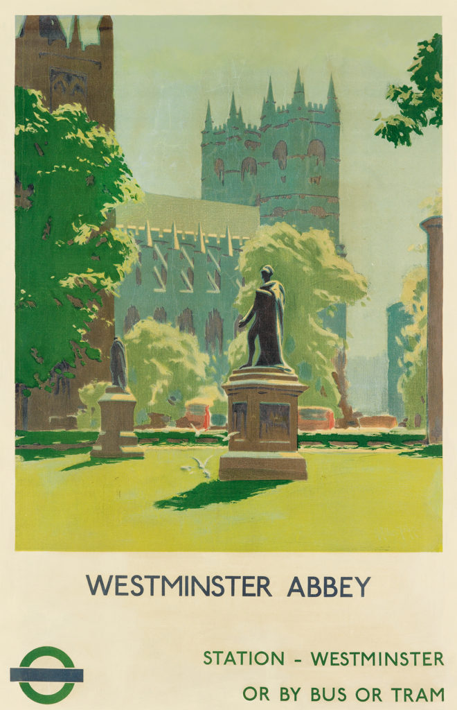 Vintage travel posters - Westminster Abbey in London