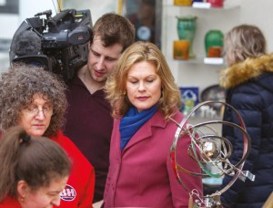 Filming an antiques programme for television