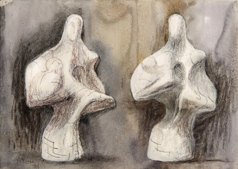 CADA online exhibition - Haynes Fine Art Henry Moore, Two Views of Mother and Child Sculpture