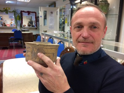 Karl Martin with his car boot sale pot