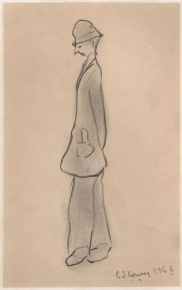 LS Lowry pencil sketch entitled Thoughtful Man was some of the Northern art in sale