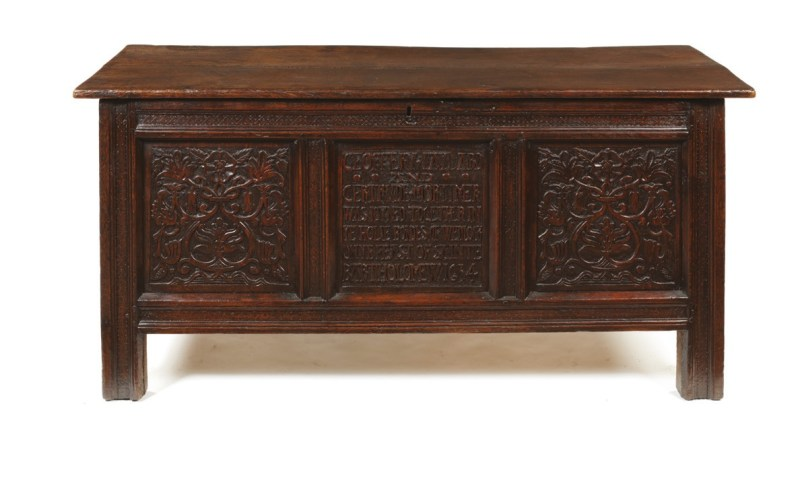 Charles I period oak marriage chest