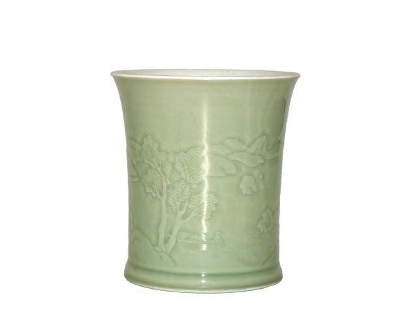 Carved celadon brush pot