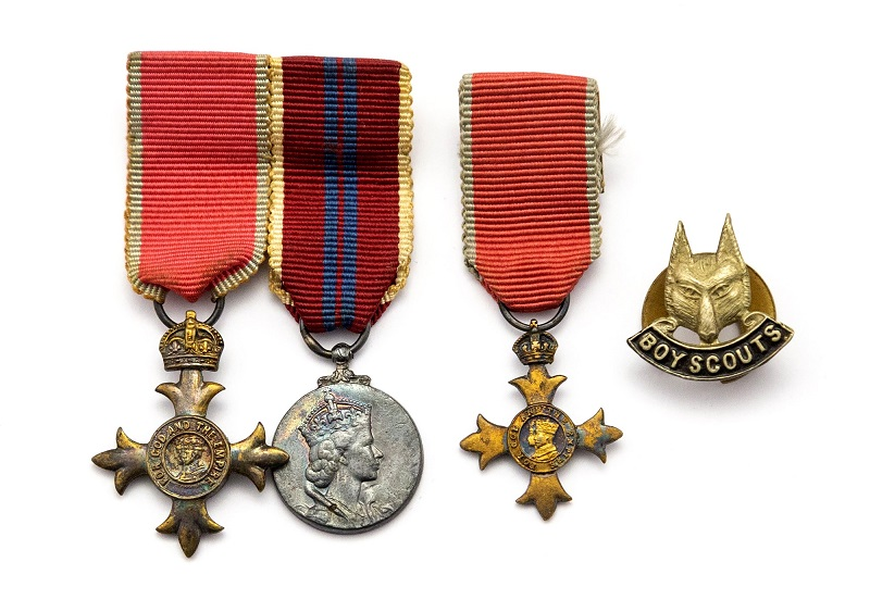 Harold Wilson medals and Boy Scouts badge - credit Hansons