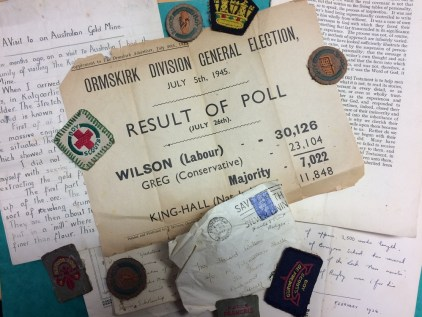 Harold Wilson personal papers and badges