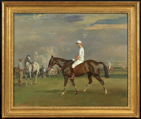 Robert Strawbridge II (1896-1986) on his bay polo pony Oil on canvas Sir Alfred Munnings (1878-1959) 28 x 36 in Courtesy of The Parker Gallery © The Parker Gallery