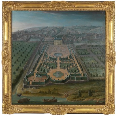 Pair of topographical paintings of the Pavillion of Vaux-Sur-Seine, thought to belong to the Comte d'Artois, brother of Louis XVI and the most important collector of the late 18th century Oil on canvas Pierre Denis Martin (1663–1742) Courtesy of Frank Partridge © Frank Partridge