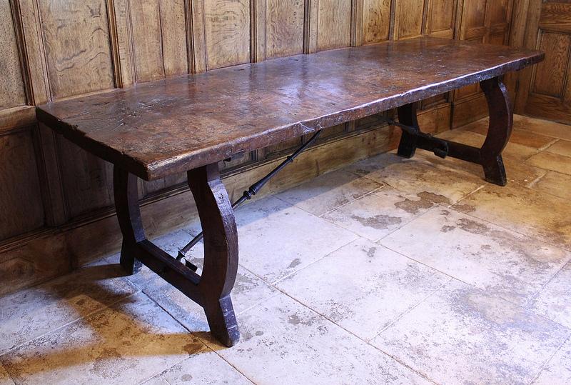 An 18th century Spanish walnut 10-seat dining table
