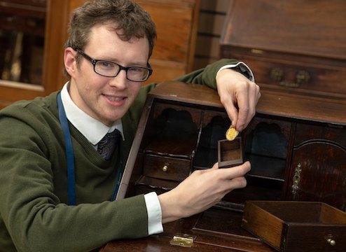 Edward Rycroft with the rare gold coin