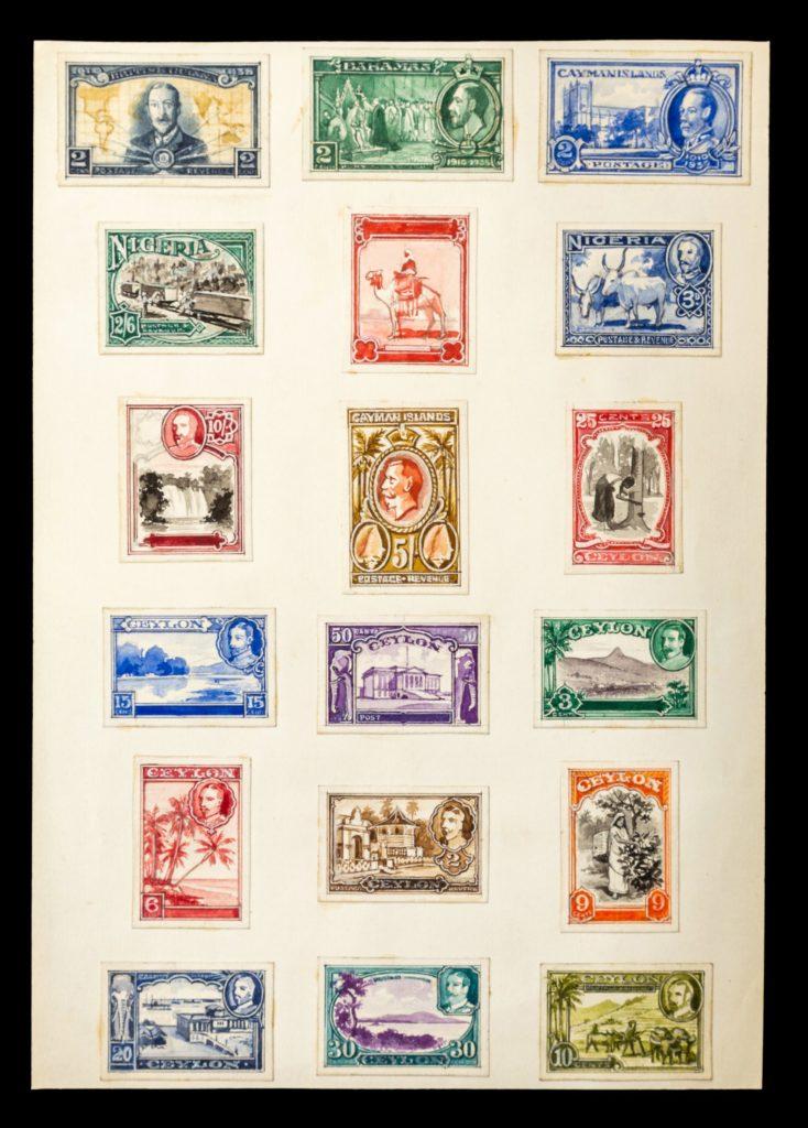 Nigeria and Ceylon stamp designs - credit Hansons