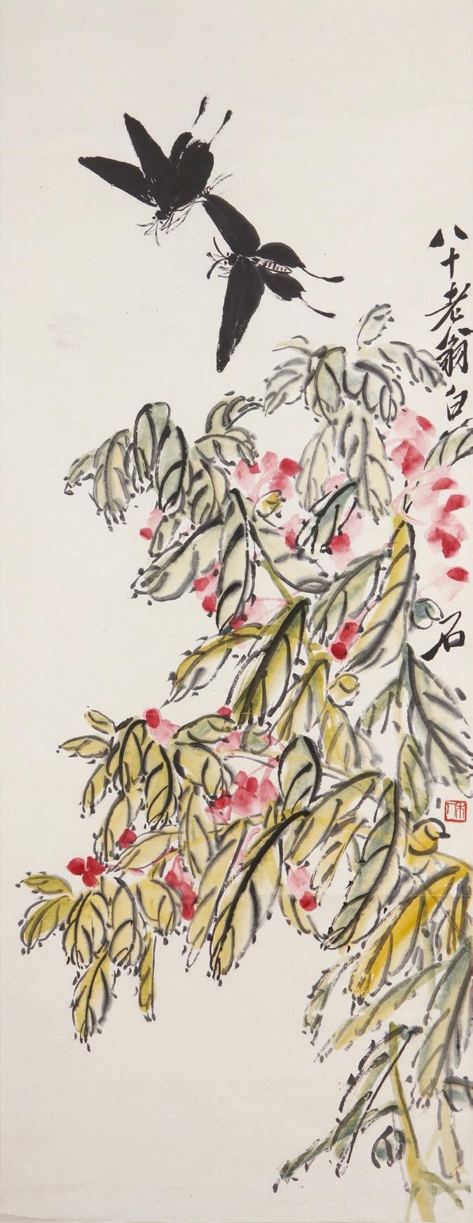 Chinese 20th-century artist Qi Baishi, Balsam andButterflies