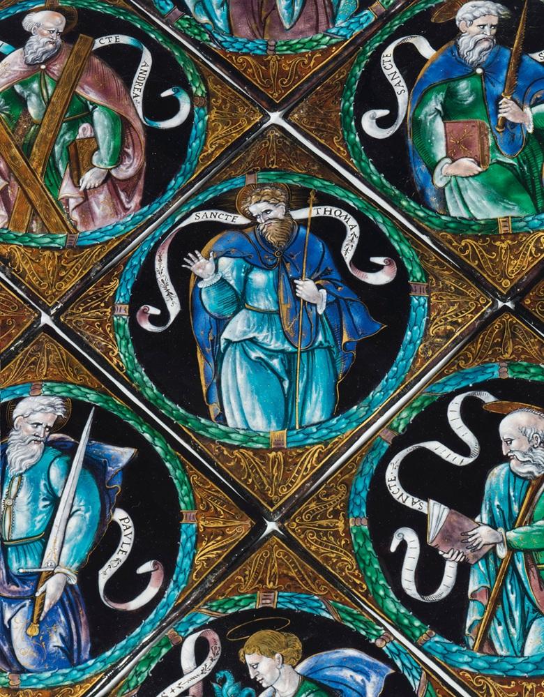 From the Rothschild family collection - a Léonard Limosin (circa 1505-1575/1577), circa 1550, a set of ten parcel-gilt polychrome square enamel plaques of apostles