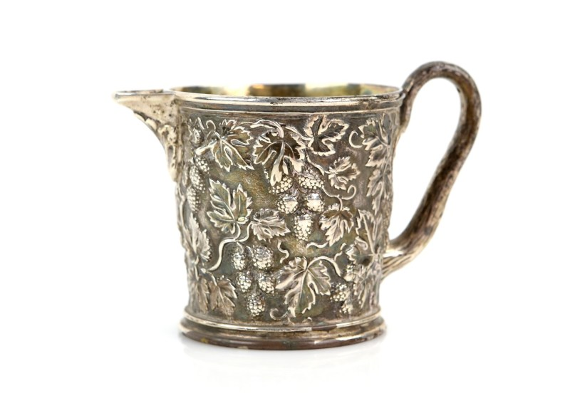 William IV silver cream jug, designed by celebrated English silversmith Paul Storr
