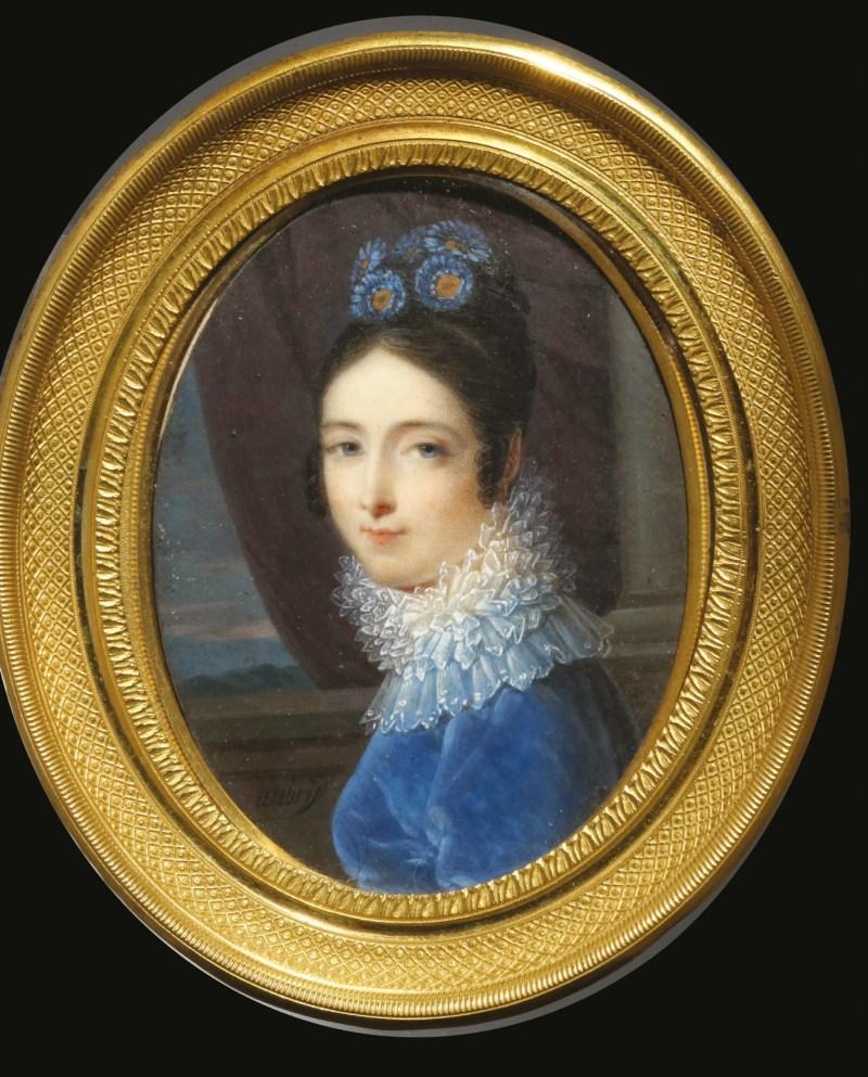 Louis Francois Aubry (French 1767-1851), portrait miniature of a lady