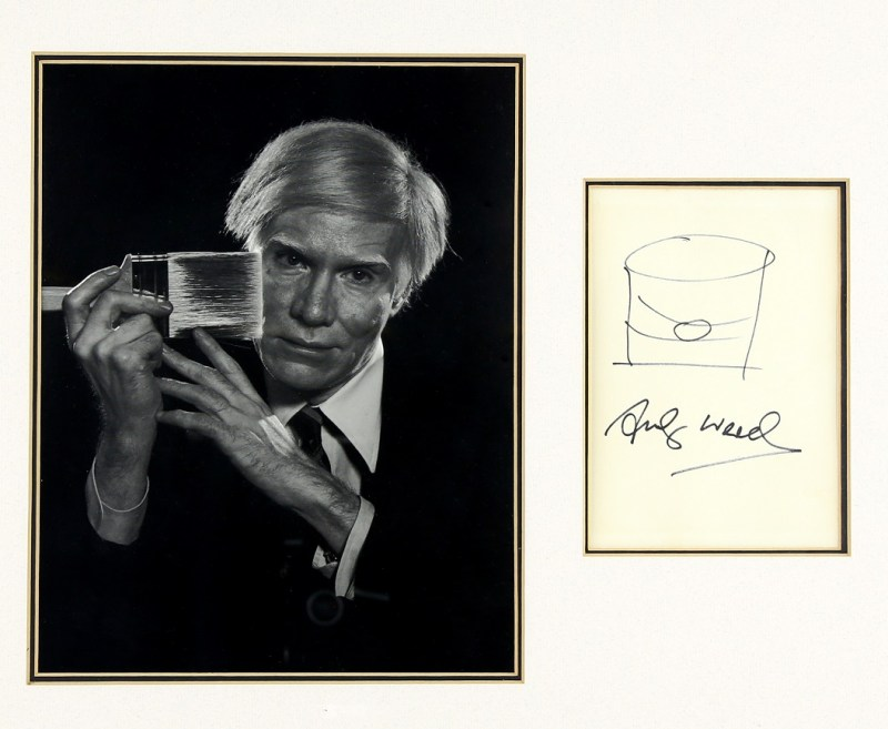 Andy Warhol sketch of Campbell's soup tin