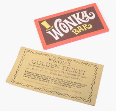 Willy Wonka golden ticket and Wonka bar