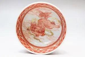 米久和彦作 九谷焼赤繪七宝文獅子盃
