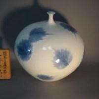 藤井朱明作 木の葉紋白磁花器