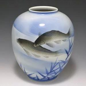 深川製磁 鯉図花瓶