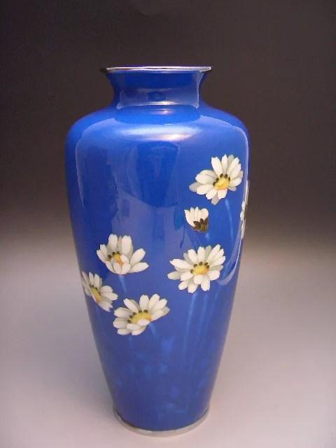 平安稲葉七宝造・藍釉除虫菊紋花瓶