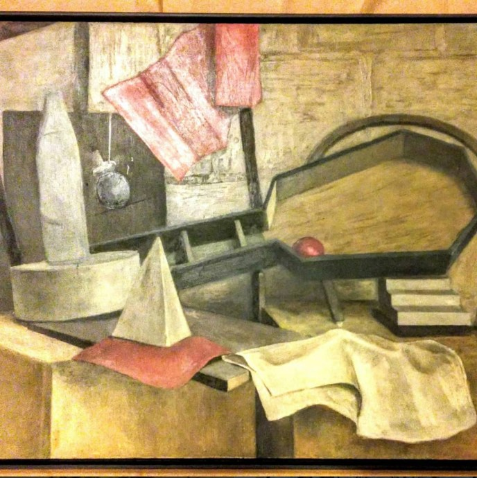 Cubist style modern art. Oil on board painting. #midcenturyart #machineageart. #cubistart. #forsale. See us at the Brimfield Antique Show. MAY'S Antique Show. May 10th, booth # 188 @ 9 am.