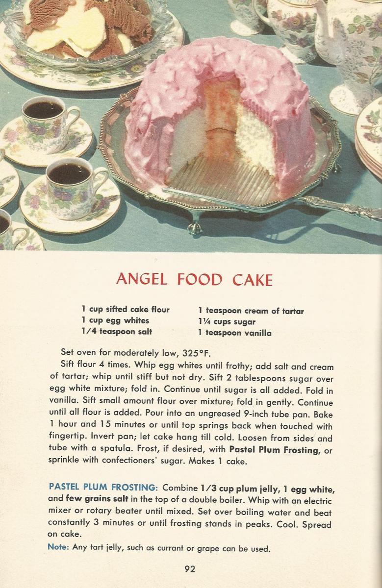 Vintage Recipes 1950s Cakes Angel Food Cake