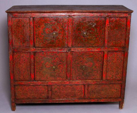 19thC Painted Tibetan Altar Cabinet,Chagam 02   Antique Buddha