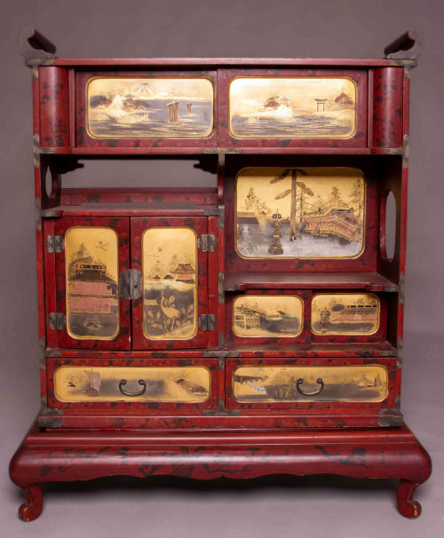 Japanese lacquered shodhana cabinet antique buddha for Furniture repair tokyo