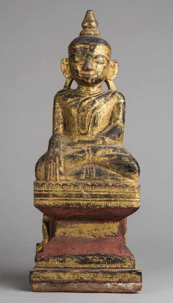 Thai Wooden Brown and Gold Handcarved Buddha 24cm tall from Thailand Brand New!!