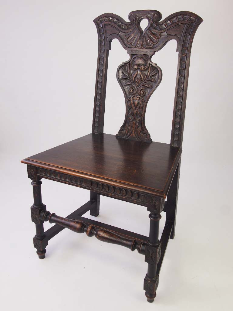 Antique Victorian Gothic Revival Hall Oak Chair For Sale