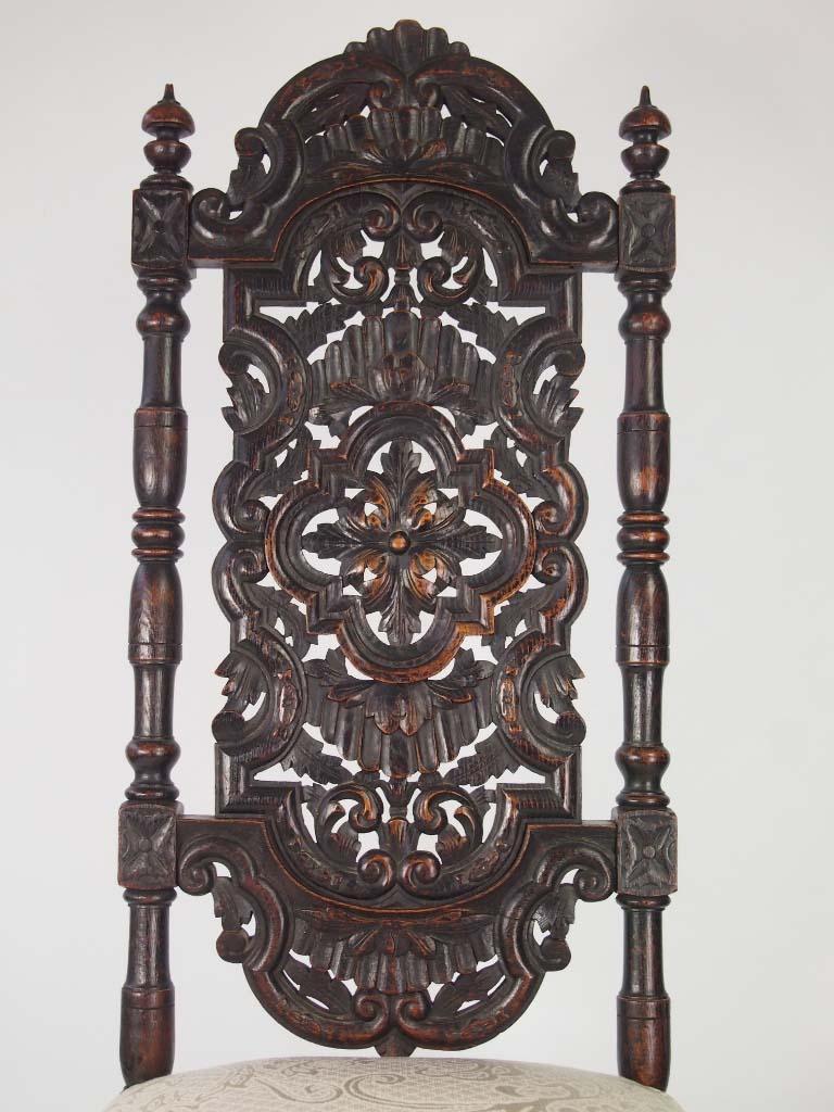 Tall Antique Victorian Gothic Revival Oak Chair