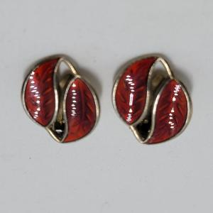 Norwegian David Andersen silver red enamel earrings clip-on