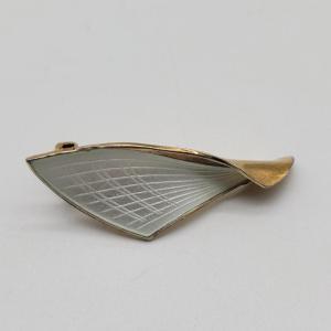 Albert Scharning silver gilt guilloche Norwegian enamel clip on earrings