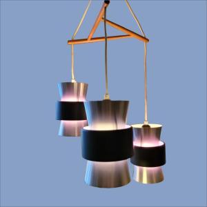 Johannes Hammerborg for Fog Morup triple Danish mid century ceiling light