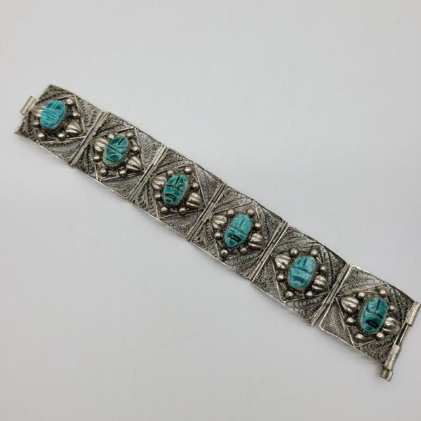 Amazing Vintage Egyptian Revival Filigree Scarab Bracelet