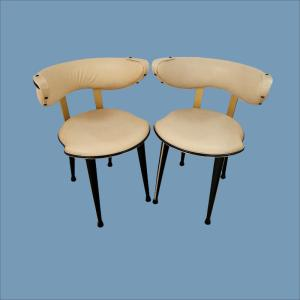 Fantastically Stylish Pair of Cream Chairs by Umberto Mascagni for Harrods circa 1950