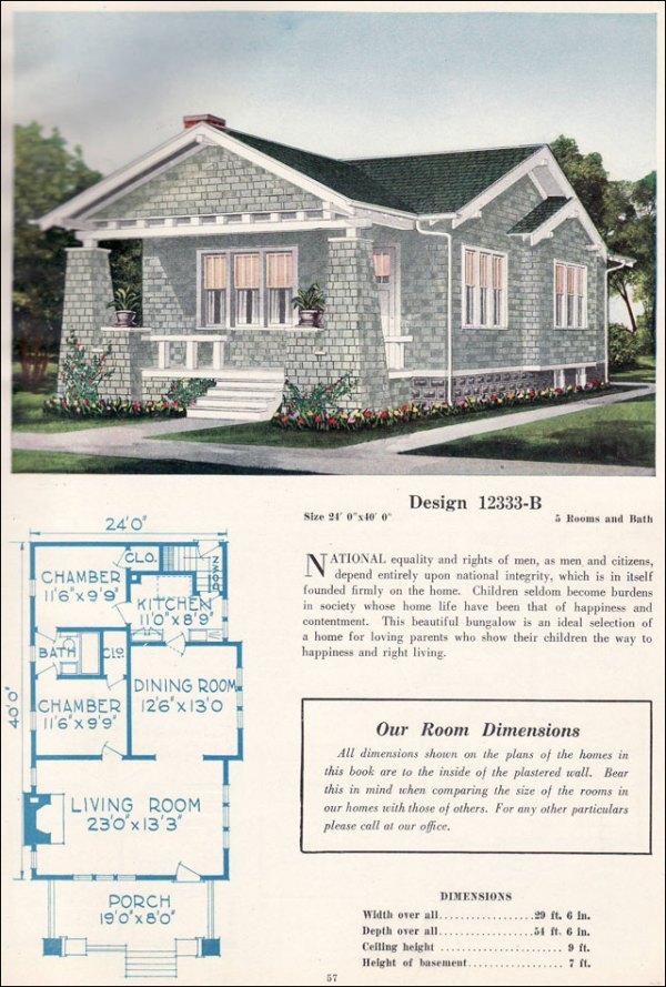 Small Craftsman Bungalow c 1923 C L Bowes Vintage