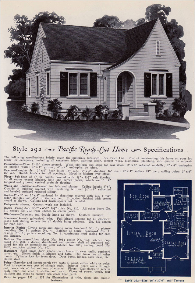 English Eclectic Small House 1925 Pacific Ready Cut